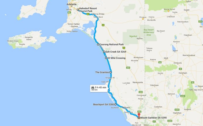 "| Highlights - Salt Creek general store, 42 mile crossing - 4WD beach drive for 2 hours and reaching ""The Granites"", Beachport (wow!), finding a campsite to put our tent up in Mount Gambier"