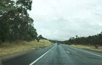 Raindrops on windscreen