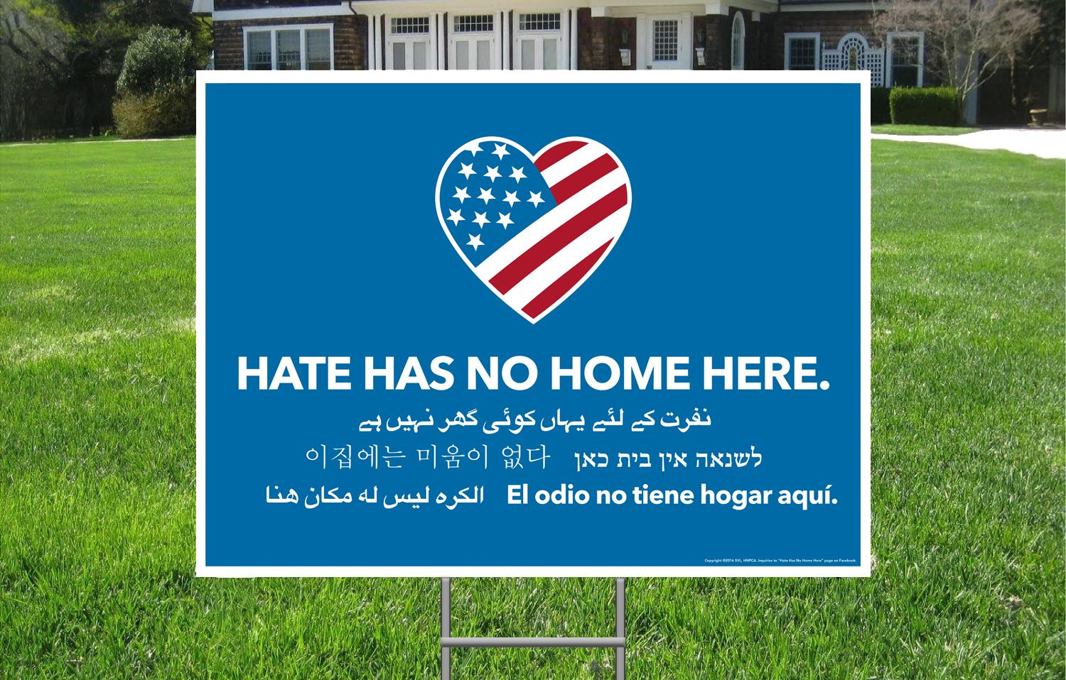 Hate Has No Home Here Yard Signs Car Refrigerator Magnets Window Posters Buttons Stickers Window Decals