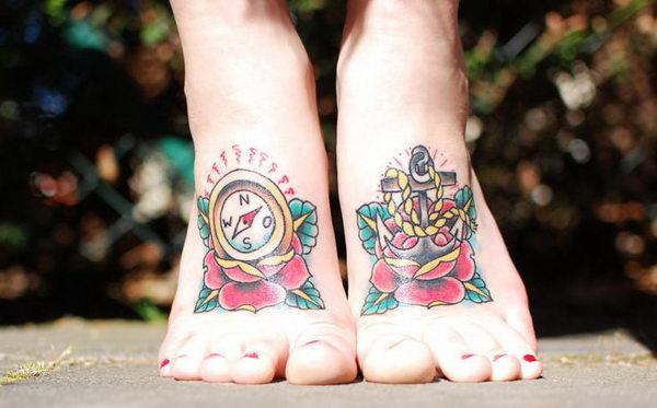 Tatuaggi bussola e ancora