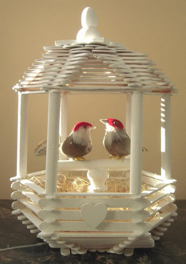 Wood Bird House On Post