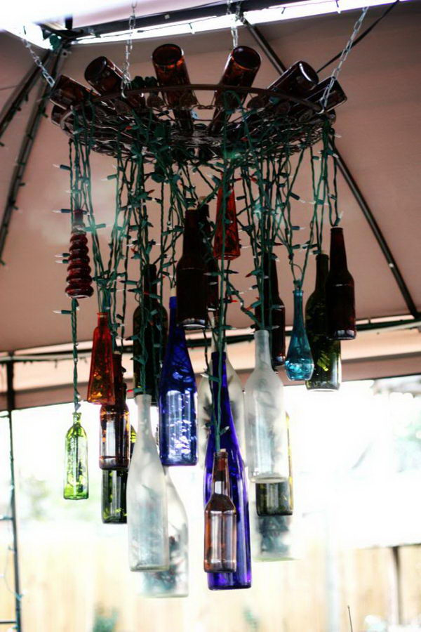 25 Creative Wine Bottle Chandelier Ideas  Hative