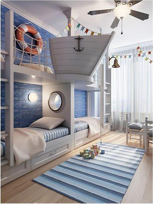 Such a room should be light and airy during the day to let you smell the fresh breeze and relax your body. 25 Nautical Bedding Ideas for Boys - Hative