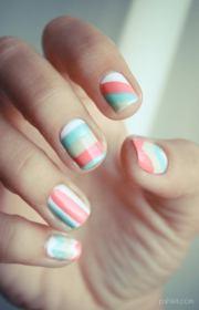 cool color block nail design