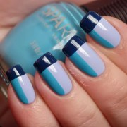 cool color block nail design