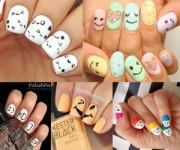 cute and happy smiley face nails