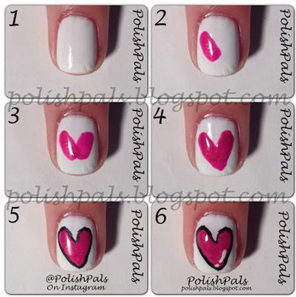 Valentine S Day Simple Heart Nail