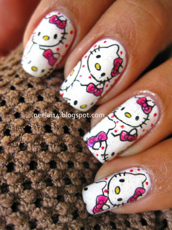Cute Hello Kitty Nail Art Designs Hative