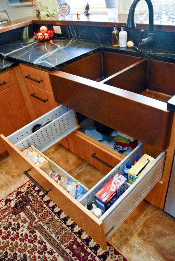 under kitchen sink organizer high tables creative storage ideas hative drawer surround plumbing the is adjustable to fit around and