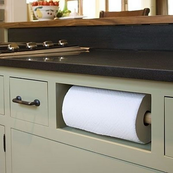 under kitchen sink organizer outdoor design creative storage ideas hative remove your fake drawer in cabinet and turn it into a paper towel holder