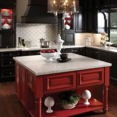Red Kitchen Islands Antique Copper Faucet 20 Cool Island Ideas Hative Black With A Pop Of Cabinetry Has Been So Hot But