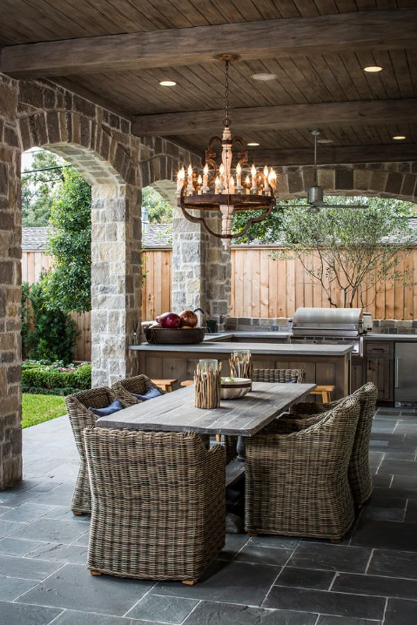 outdoor kitchen patio ideas home depot sinks stainless steel 25 cool and practical furniture the chandelier adds some mystery romance to this soft warm