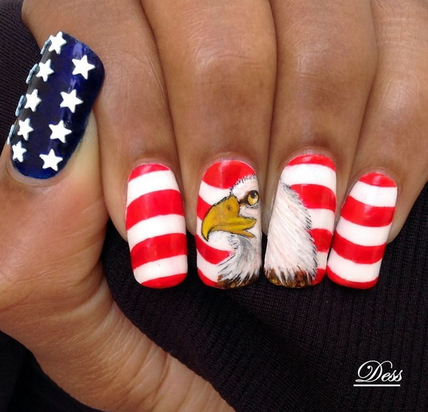 American Eagle Stars And Stripes 4th Of July Nail Art Play With The Country S