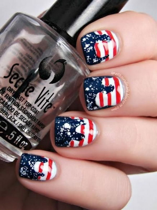 Patriotic Drip Stars And Stripes Nail Art Freehand On White Base Coat