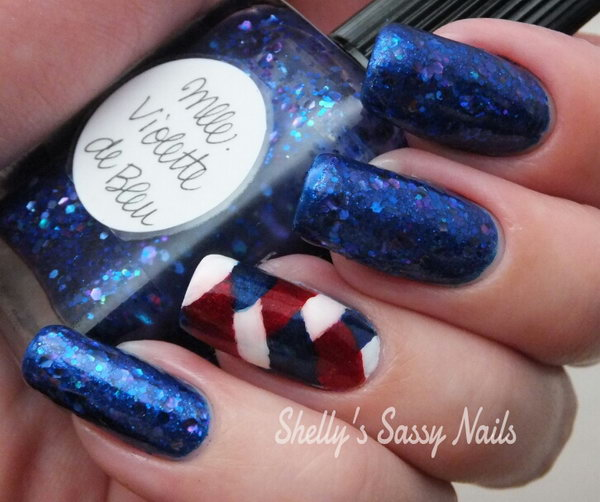 Patriotci Stripes White Blue And Red Nail Art This Is Just A Fun Diffe