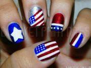 glitter 4th of july nail art