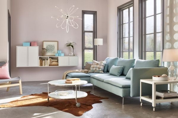 Gray And Pink Living Room With Purple Curtains