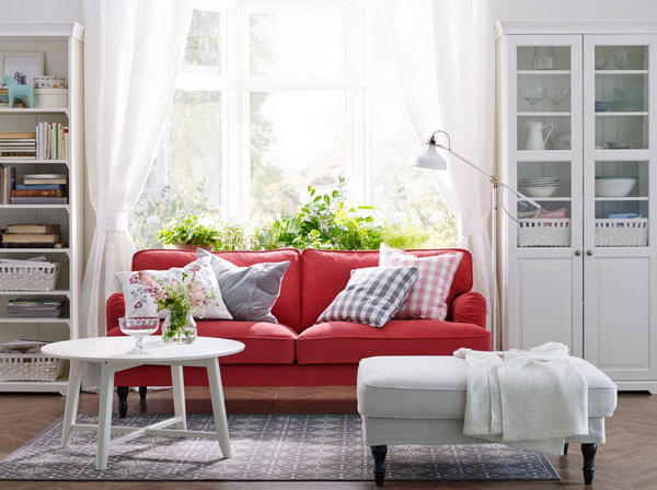red sofa white living room diy projects 15 beautiful ikea ideas hative is always related with passion in this