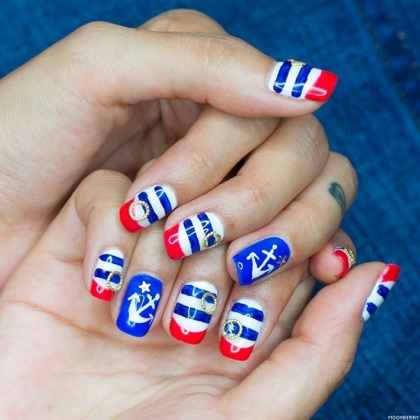 Patriotic Nautical Nail Art