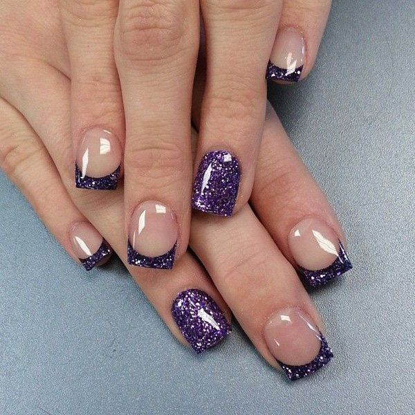 Pretty Looking French Tips In Violet Glitter