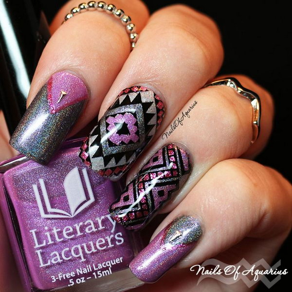 Abstract Purple Nail Art