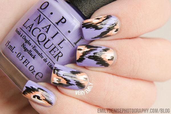 Lavender Peach And Black Nail Art