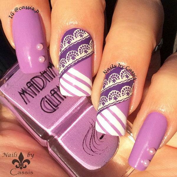 Purple Stripe Lace Nail Art