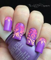 trendy purple nail art design