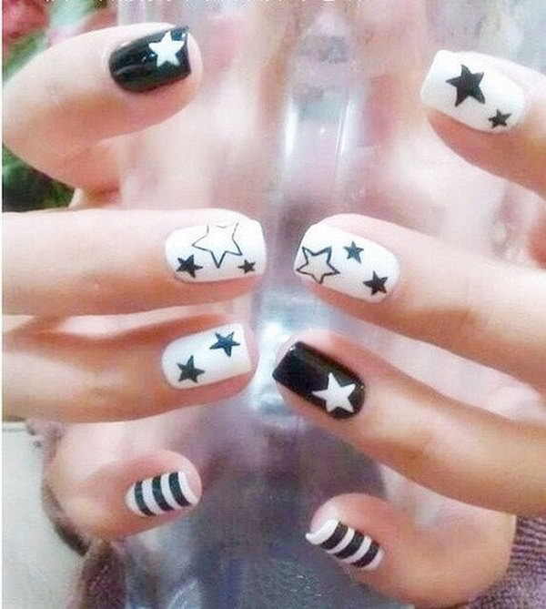 And Black White Dots Nails And White Black And