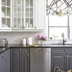 Grey Kitchen Cabinets Best Way To Refinish Stylish Two Tone For Your Inspiration Hative White And With Gold Hardware