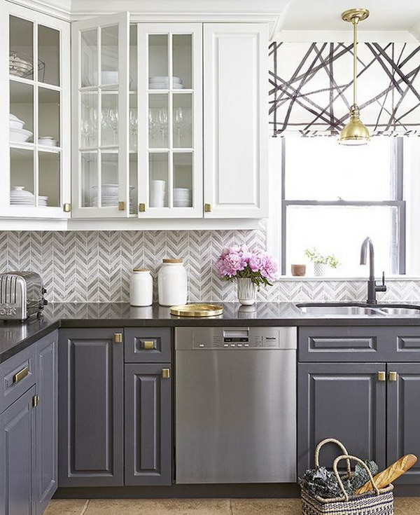 gray kitchen cabinets table for 2 stylish two tone your inspiration hative white and grey with gold hardware