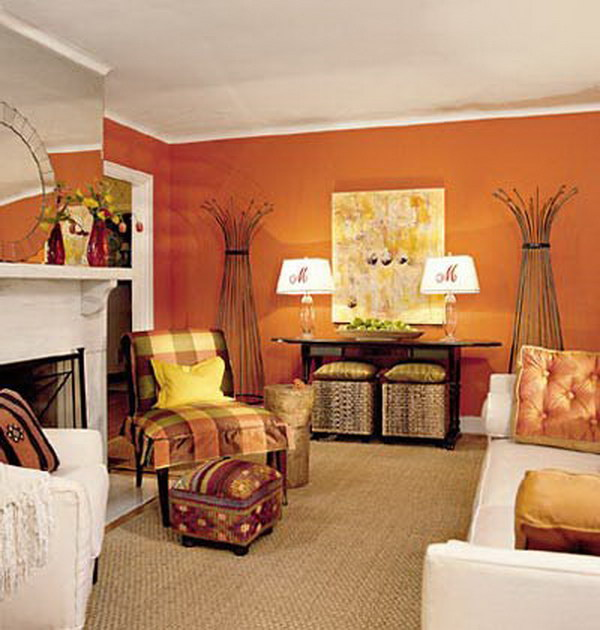 brown and orange living room making a window between kitchen pretty colors for inspiration hative tangerine with white furniture