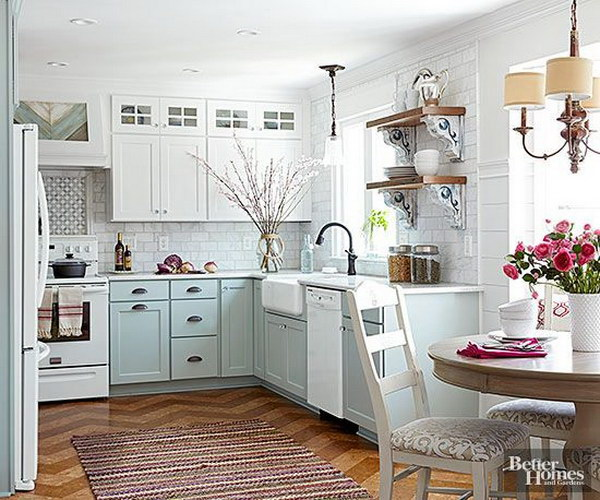 blue and white kitchen cabinet ideas Stylish Two Tone Kitchen Cabinets for Your Inspiration