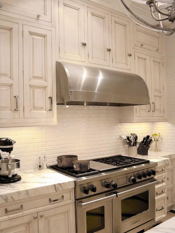 white kitchen backsplash space saving ideas 35 beautiful hative retro cream set with marble countertop plus ceramic subway tiles