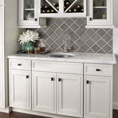 Grey Kitchen Backsplash Frigidaire Appliances Reviews 35 Beautiful Ideas Hative Arabesque Shape Mosaic Tile Against White Cabinets