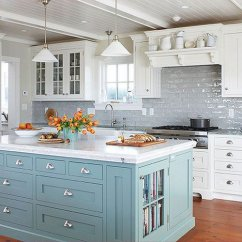 Backsplash Kitchen Best Faucet Brand 35 Beautiful Ideas Hative Blue Island Livening Up The Grey Subway Tile And White Cabinetry