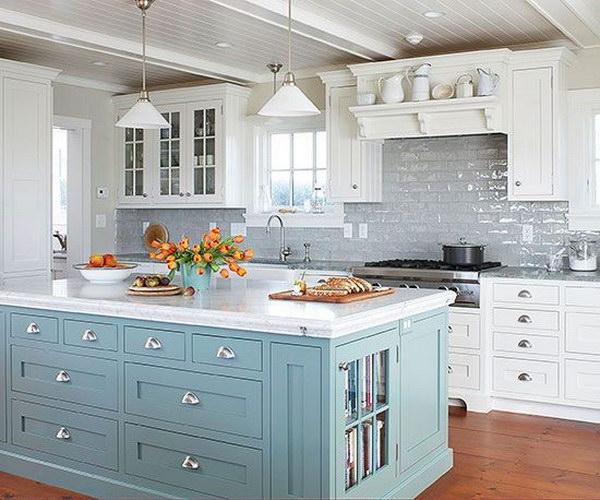 kitchen backsplashes cork flooring for 35 beautiful backsplash ideas hative blue island livening up the grey subway tile and white cabinetry