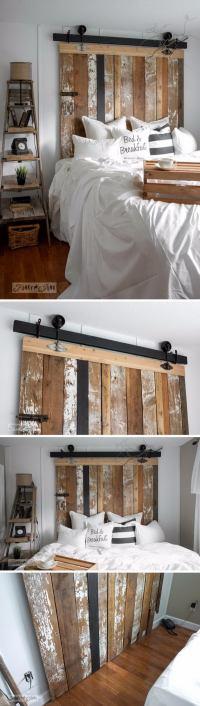 30+ Rustic Wood Headboard DIY Ideas - Hative