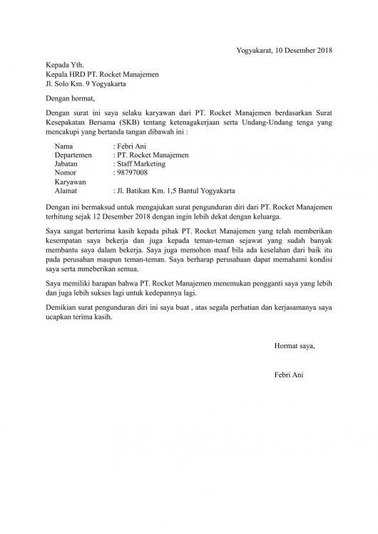 Contoh Surat Berhenti Bekerja
