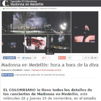 29 de Noviembre, 2012 El Colombiano, Maddona en Medellin