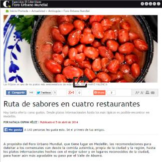 5 de Abril, 2014 El Colombiano, Ruta de sabores en cuatro restaurantes