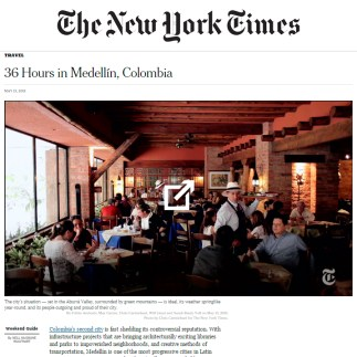 12 de Mayo, 2015. New York Times. 36 Hours in Medellín, Colombia