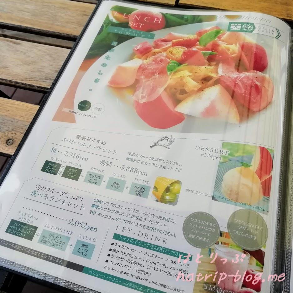 山梨 内藤農園 グリーンテーブルカフェ メニュー ランチセット
