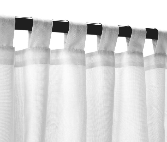Sunbrella Outdoor Curtain With Tabs In Sheer Snow 50 In X 96 In