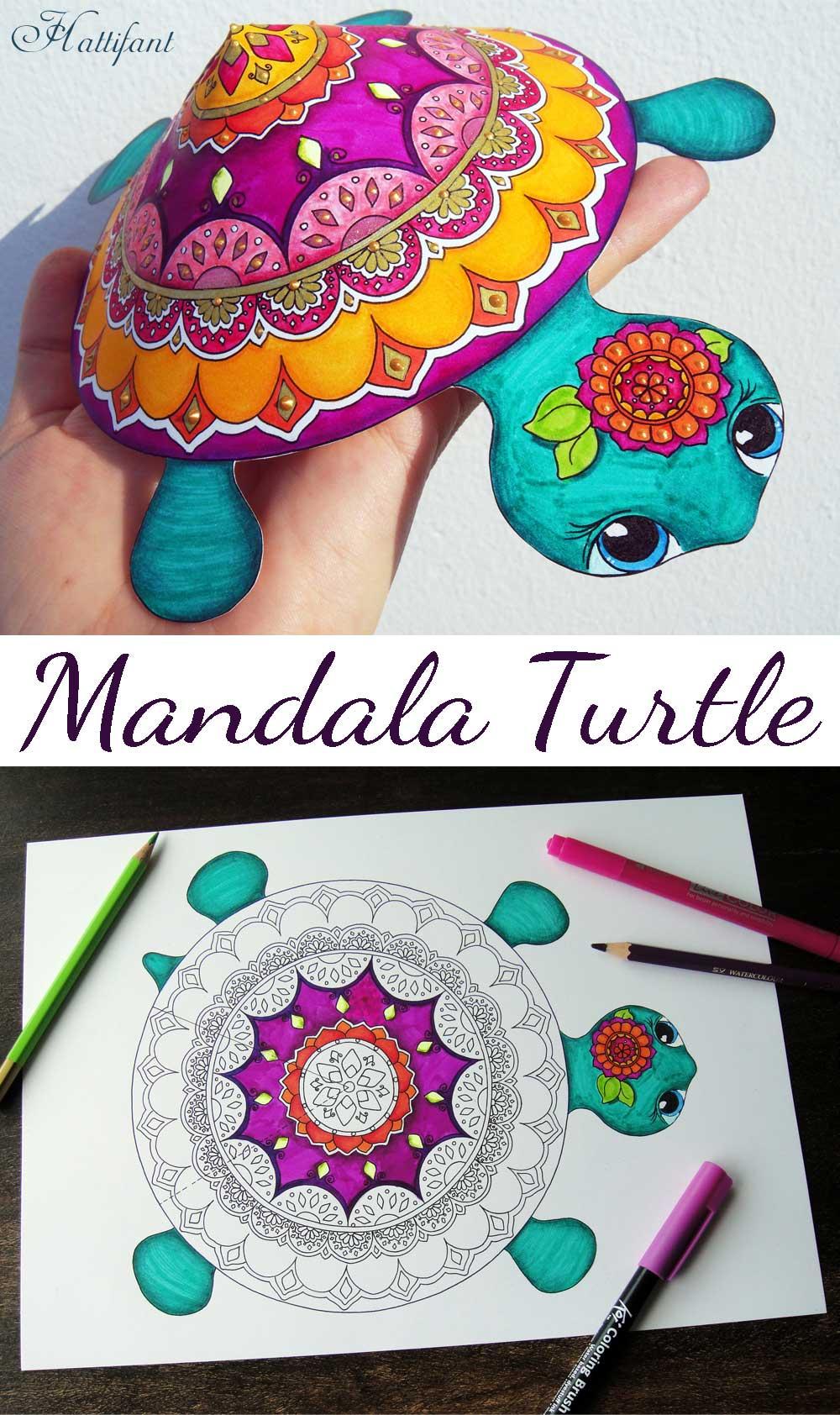 Mandala Turtle Rare Species Coloring Papercraft