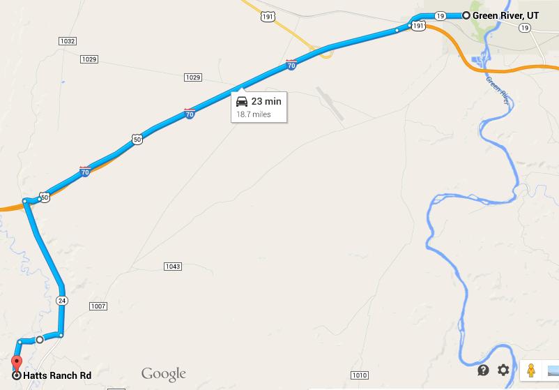 Map from Green River Utah to Hatt's Ranch