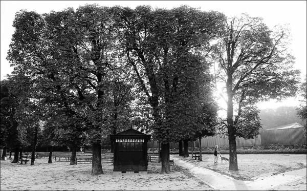 le kiosque est déjà fermé. Jardin du Luxembourg.