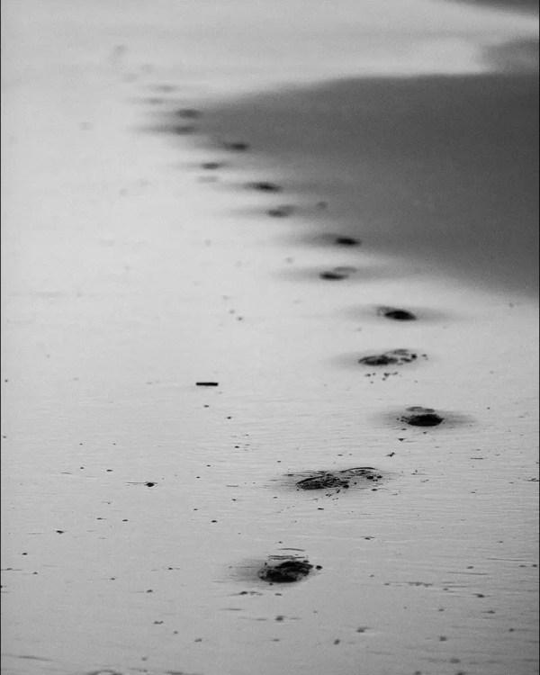 des traces dans le sable