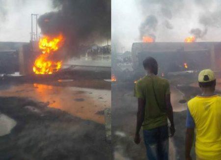 Image result for One Dead, 8 Vehicles Burnt In Edo Tanker Explosion