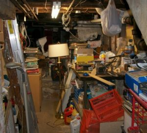 disorganized basement clean out